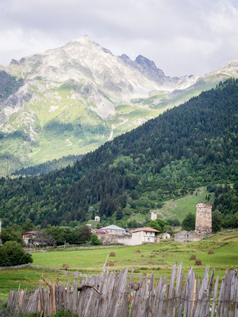 defensive: Adishi village in Upper Svaneti, Georgia, Caucasus  The region is known for its medieval defensive towers
