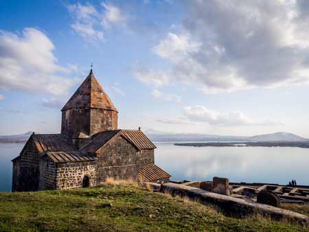 Sevanavank monastic complex in Armenia. Founded in 874 Sevanavank on the Kghazi peninsula is by far the most popular tourist attraction of the lake Sevan region.