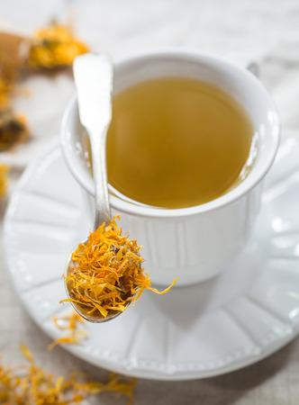 Calendula officinalis (pot marigold) tea.