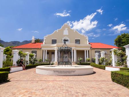 western town: Town hall in Franschhoek in wine region in Western Cape, South Africa, in February 2015.