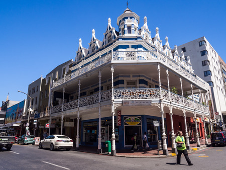 A wide angle photo of the architecture on the Long street in the center of Cape Town, South Africa, on a sunny summer day. Horizontal orientation, blue sky in the background