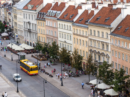 krakowskie przedmiescie: Krakowskie Przedmiescie street in the downtown of Warsaw in summer, seen from the viewing terrace on St. Annas Church.
