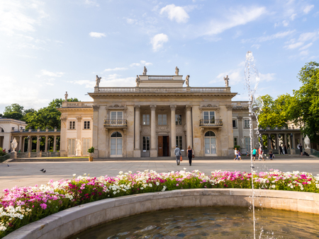 southern poland old building: Principal southern facade of the Baths Palace, also called the Palace on the Water in Lazienki Royal Baths Park in Warsaw, Poland.