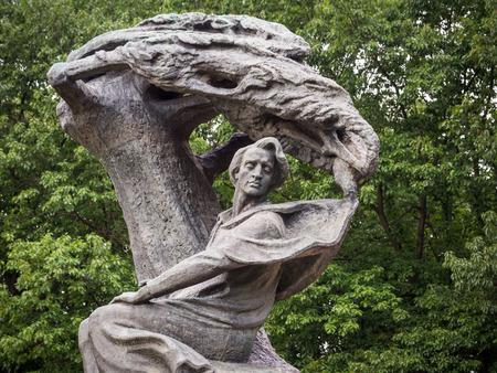 lazienki: Fryderyk Chopin Frederic Chopin monument in Lazienki Park Royal Baths Park in Warsaw, Poland.