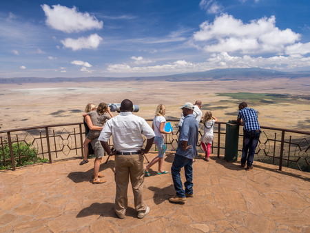 People at the viewing point in Ngorongoro Crater, Tanzania, Africa. Editorial