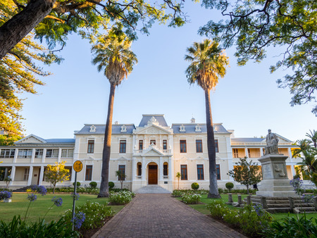 africa sunset: Theological seminary of the university of Stellenbosch, Cape Town, South Africa.