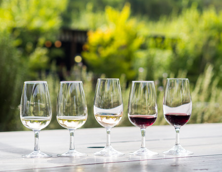 Wine tasting in Stellenbosch, South Africa. From the left: sauvignon blanc, chardonnay, blanc de noir, merlot, cabernet sauvignon.