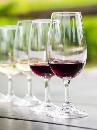 sauvignon: Wine tasting in Stellenbosch, South Africa. From the front: cabernet sauvignon, merlot, blanc de noir, chardonnay.