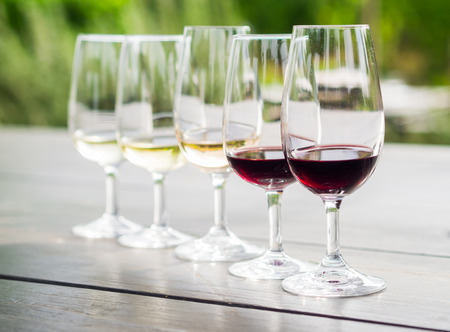 Wine tasting in Stellenbosch, South Africa. From the front: cabernet sauvignon, merlot, blanc de noir, chardonnay, sauvignon blanc.
