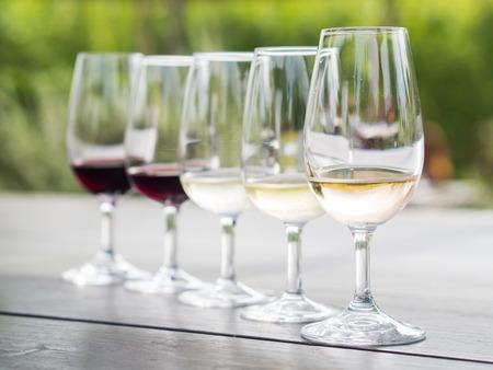 Wine tasting in Stellenbosch, South Africa. From the front: blanc de noir, chardonnay, sauvignon blanc, merlot, cabernet sauvignon. Stock Photo