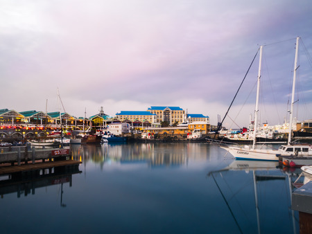 water town: Waterfront in Cape Town, South Africa, at sunset.