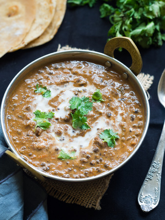 Dal makhani (Buttery Lentil), a popular dish originating from the Punjab region of India and Pakistan. Imagens