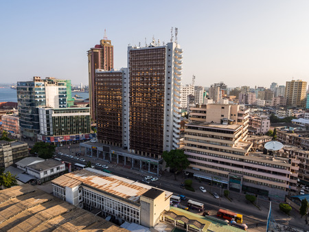 east africa: Architecture in downtown of Dar es Salaam, Tanzania, East Africa, in the evening, at sunset. Horizontal orientation, wide angle.