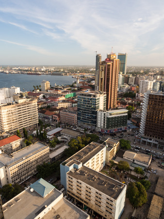 east africa: Architecture in downtown of Dar es Salaam, Tanzania, East Africa, in the evening, at sunset. Vertical orientation, wide angle.