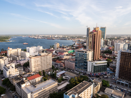 Architecture in downtown of Dar es Salaam, Tanzania, East Africa, in the evening, at sunset. Horizontal orientation, wide angle.