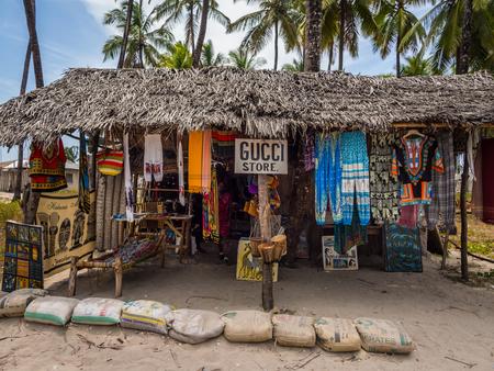 gucci shop: PAJE, ZANZIBAR - MARCH 31, 2016: Local souvenir shop called Gucci in Paje, Zanzibar.