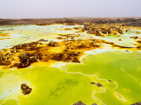 hottest: Sulphur lake Dallol in a volcanic explosion crater in the Danakil Depression, northeast of the Erta Ale Range in Ethiopia. The lake with its sulphur springs is the hottest place on Earth.