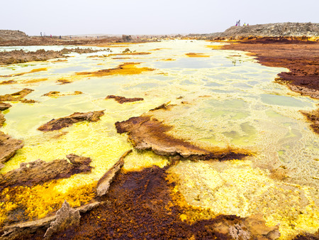 crystallization: Sulphur lake Dallol in a volcanic explosion crater in the Danakil Depression, northeast of the Erta Ale Range in Ethiopia. The lake with its sulphur springs is the hottest place on Earth.