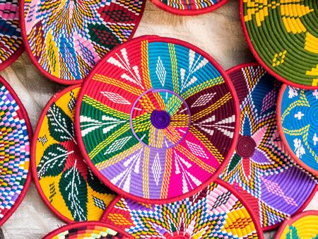 Traditional Ethiopian handmade Habesha baskets sold in Axum, Ethiopia.