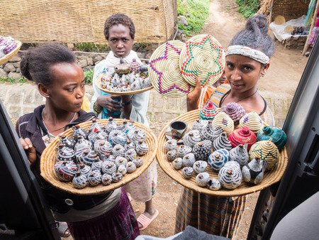 ethiopian: Ethiopian women selling crafts and souvenirs in Semien Mountains. Editorial