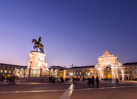 Praca do Comercio with the statue of King Jose I in downtown of Lisbon, Portugal, by night. Editorial