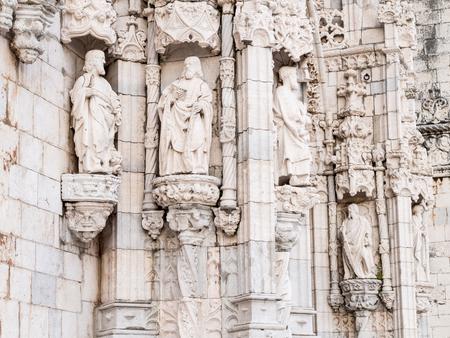 santa maria: Decorations of exterior walls of the Santa Maria Church in Jeronimos Monastery, Lisbon, Portugal.