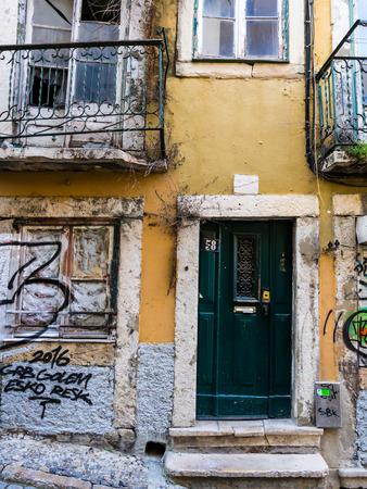 bairro: Old abandoned building in Bairro Alto, Lisbon, Portugal.