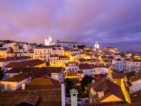 LISBON, PORTUGAL - JANUARY 10, 2017: Cityscape of Lisbon, Portugal, seen from Portas do Sol, by night. Editorial