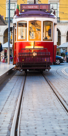 tramcar: Old tram on the Praca do Comercio (Commerce Square) in Lisbon, Portugal. Editorial