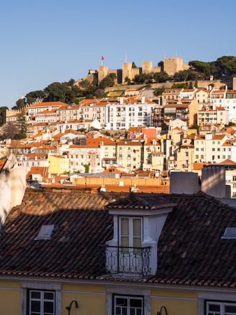 LISBON, PORTUGAL - JANUARY 19, 2017: , 2017: Sao Jorge Castle in Lisbon, with surrounding architecture. Stock Photo