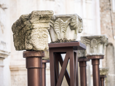 convento: LISBON, PORTUGAL - JANUARY 19, 2017: Parts of old columns in the ruined Convent of Our Lady of Mount Carmel in Lisbon, Portugal. Editorial