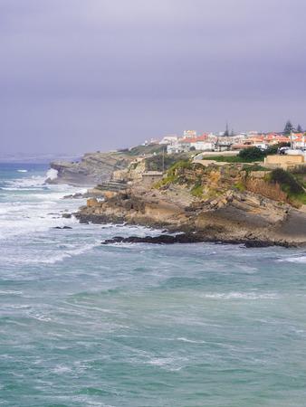 Praia das Macas (Apple Beach) in Colares, Portugal, ona stromy day.