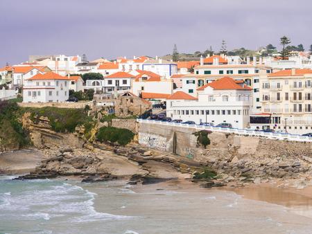PRAIA DAS MACAS, PORTUGAL - MARCH 19, 2017: Praia das Macas (Apple Beach) in Colares, Portugal, ona stromy day.