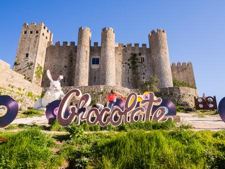 OBIDOS, PORTUGAL � APRIL 02, 2017: XV International Chocolate Festival in Obidos, Portugal.