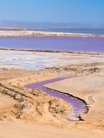 Salt pans in Walvis Bay, Namibia, Africa. Stock Photo