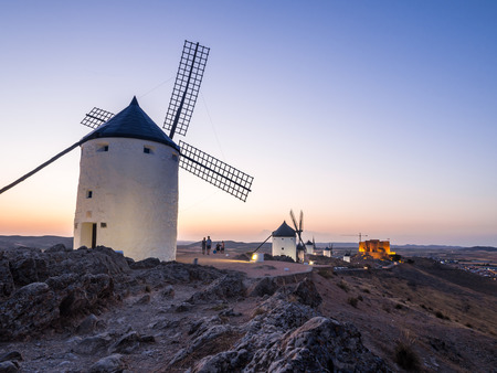 don quijote: CONSUEGRA, SPAIN - JULY 29, 2017: Windmills (molinos) in Consuegra, Toledo Province, Castilla La Mancha, Spain, at night. Editorial