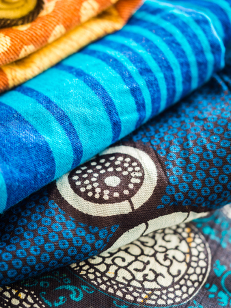 Colorful African fabric form Tanzania.