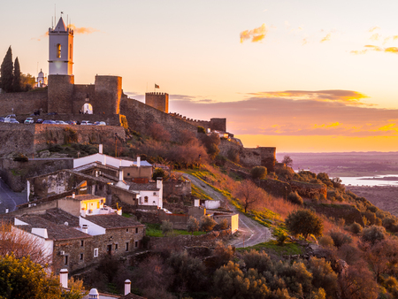 Monsaraz in Alentejo region, Portugal, at sunset. Stock Photo
