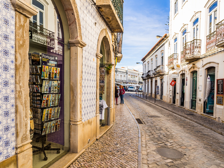 TAVIRA, PORTUGAL -MARCH 28, 2018: Street in the old town of Tavira in Algarve region, south of Portugal.