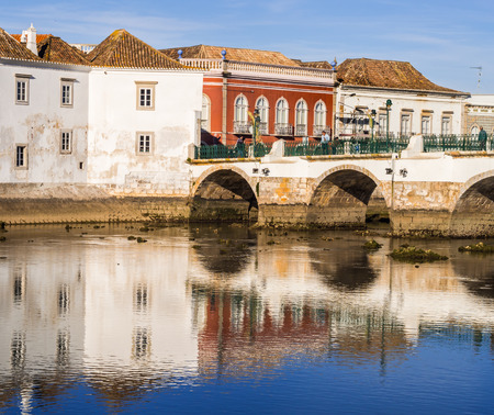 TAVIRA, PORTUGAL -MARCH 28, 2018: View of the old town of Tavira in Algarve region, south of Portugal.