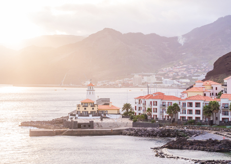View of Canical, a town in the Madeira island, Portugal, at sunset.