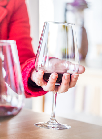 Woman hand holding a glass of red wine at wine tasting in Setubal wine region, Portugal. Stok Fotoğraf - 123700130