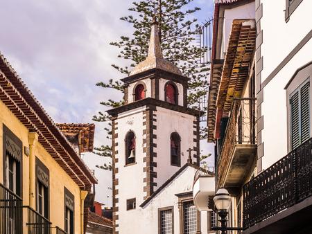 Parish of Sao Pedro in Funchal, the capital of Madeira island, Portugal, as seen from Rua das Pretas.