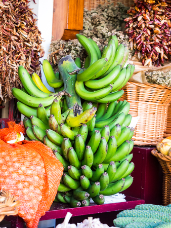 Bananas from Madeira sold on a local market in Funchal, Madeira, Portugal.