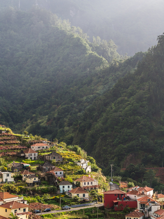 Landscape with a small village on the Madeira island, Portugal.