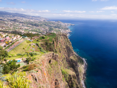 Aerial view of Funchal, the capital of Madeira island, Portugal, as seen from Cabo Girao Skywalk viewpoint. Stock Photo