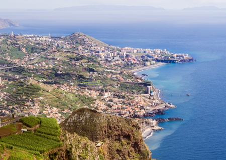 Aerial view of Funchal, the capital of Madeira island, Portugal, as seen from Cabo Girao Skywalk viewpoint. Stock fotó