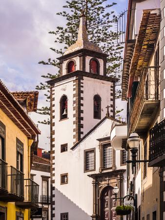 Madeira, Portugal - October 31, 2018: Parish of Sao Pedro in Funchal, the capital of Madeira island, Portugal, as seen from Rua das Pretas.