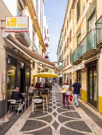 Madeira, Portugal - October 31, 2018: Street in the historical part of Funchal, the capital of Madeira, Portugal. Editorial