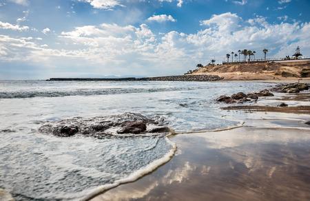 View of Playa de Fanabe, Fanabe Beach in Tenerife, Canary Islands - Spain.